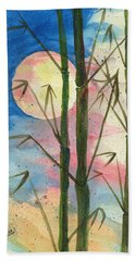 Hand Towel featuring the painting Moolight Bamboo by Darice Machel McGuire