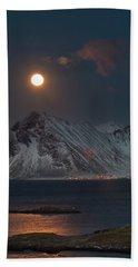 Moon And Mountains In Lofoten Bath Towel