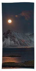 Moon And Mountains In Lofoten Bath Towel