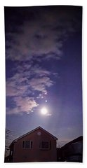 Moon And The Sky Over Roof Hand Towel by Mina K
