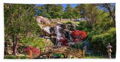 Moon Bridge And Maymont Falls Bath Towel by Rick Berk