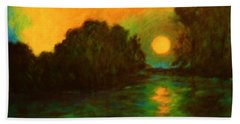 Hand Towel featuring the painting Moon Glow by Alison Caltrider