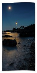 Bath Towel featuring the photograph Moon Light Over The Lighthouse  by Emmanuel Panagiotakis