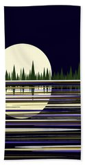Moon Lit Water Hand Towel by Val Arie