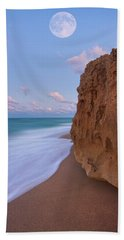 Moon Over Hutchinson Island Beach Hand Towel by Justin Kelefas