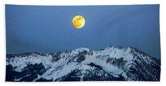 Moon Over Mt Gunnison Colorado Hand Towel