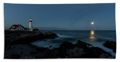Moon Rise At Portland Headlight Hand Towel