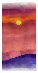 Moon Rise In Aquarelle Hand Towel