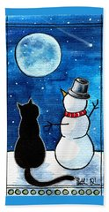 Moon Watching With Snowman - Christmas Cat Hand Towel