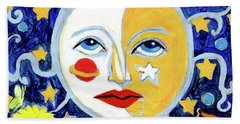 Bath Towel featuring the painting Moonface With Wolf And Stars by Genevieve Esson