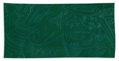 Moonfish Drawing Negative Green Chalk Bath Towel