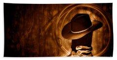 Moonlight Cowboy Boots - Sepia Hand Towel