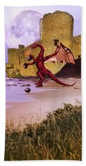 Moonlight Dragon Attack Hand Towel by Diane Schuster