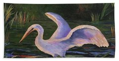 Moonlight Egret Hand Towel
