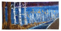 Bath Towel featuring the painting Moonlight On Path To Beach by Betty Pieper