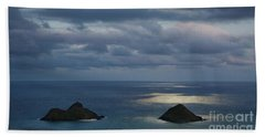 Moonlight Over Mokulua Islands Hand Towel