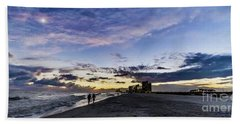 Hand Towel featuring the photograph Moonlit Beach Sunset Seascape 0272c by Ricardos Creations