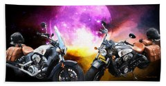 Moonlit Indian Motorcycle Hand Towel