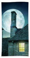 Moonlit Rooftops And Window Light  Hand Towel
