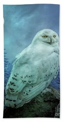 Moonlit Snowy Owl Bath Towel