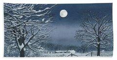 Moonlit Snowy Scene On The Farm Bath Towel