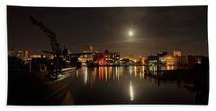 Moonlit Waterfront Hand Towel by Denis Lemay