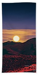 Moonrise In Northern New Mexico  Hand Towel