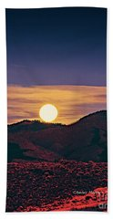 Moonrise In Northern New Mexico  Bath Towel