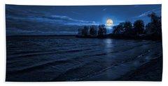 Moonrise On The Beach Bath Towel