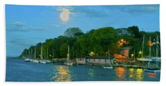 Hand Towel featuring the photograph Moonrise Over Nothe Fort by Anne Kotan