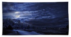 Moonrise Over Pymatuning Lake Bath Towel