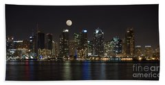 Moonrise Over San Diego Hand Towel by Sandra Bronstein