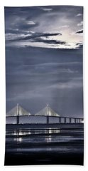 Moonrise Over Sunshine Skyway Bridge Bath Towel