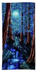 Moonrise Over The Los Altos Redwood Grove Hand Towel