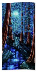 Moonrise Over The Los Altos Redwood Grove Bath Towel
