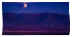 Moonrise Over The Salt Lake Bath Towel