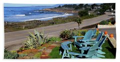 Hand Towel featuring the photograph Moonstone Beach Seat With A View by Barbara Snyder