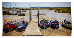 Moored Fishing Boats Hand Towel