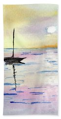 Moored Sailboat Bath Towel
