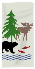 Moose And Bear Pattern Art Bath Towel