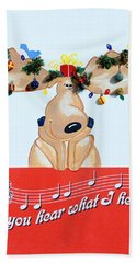 Moose Christmas Greeting Bath Towel by Sally Weigand