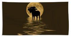 Moose In The Moonlight Hand Towel