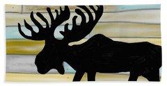Hand Towel featuring the digital art Moose by Paula Brown