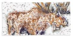Moose-sticks Bath Towel by Elaine Ossipov
