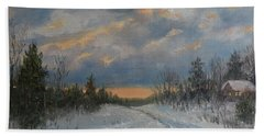Hand Towel featuring the painting More Snow Tonight by Kathleen McDermott