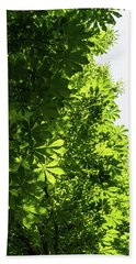 More Than Fifty Shades Of Green - Sunlit Chestnut Leaves Patterns - Vertical Left One Bath Towel