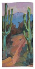 Hand Towel featuring the painting Morning At Fort Apache by Diane McClary
