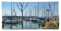 Hand Towel featuring the photograph Morning At The Marina by Charles Kraus