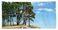 Morning Beach Arbutus Trees Hand Towel