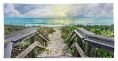 Hand Towel featuring the photograph Morning Blues At The Dune by Debra and Dave Vanderlaan